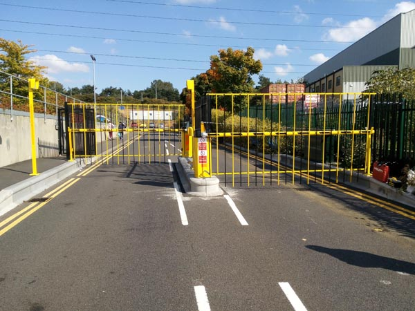 These are our secure access slowed down entry/exit 2.2M high and fencing all-round site installed 2016. The gap is only 3.7M wide.