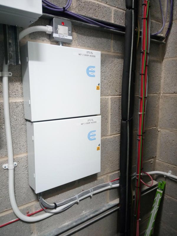 This is our Net2 in a riser cupboard these two power supply's contain four Net2 controllers for each floor of the building. We installed this on the third floor in multi floor office 2016.