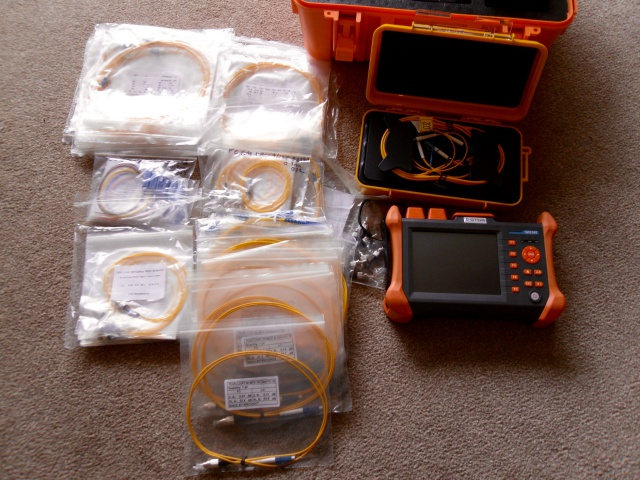 Our Fibre OTDR Test Meter and ST FC SC and LC pigtails and patch leads
