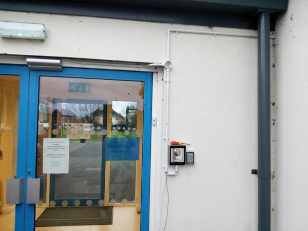 We where asked to install a front door intercom on a new modular school. We where told not cable inside the school as they wanted to keep a clean look. No problem.